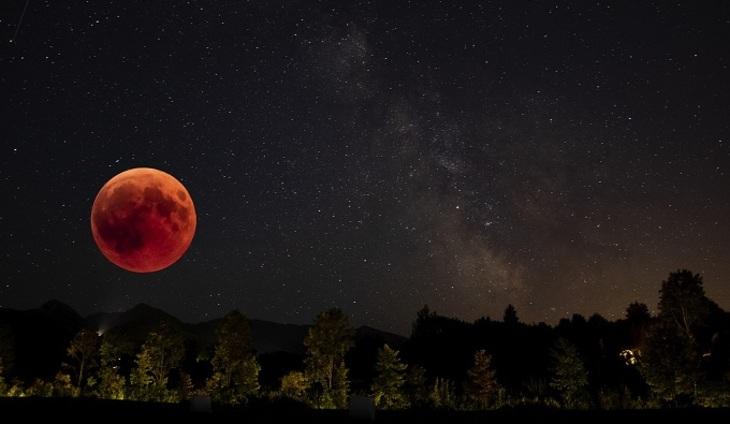 21 января произошло полное лунное затмение. На небе появилась красно-оранжевая или «кровавая» Луна